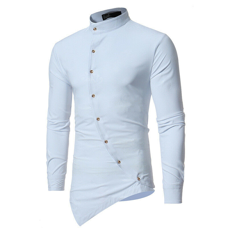 Men's Stylish Casual Dress Tee Shirt Slim Fit T-Shirt Long Sleeve Formal Tops