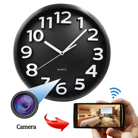 WS A8 A8 Hidden Wall Clock CCTV Camera - White