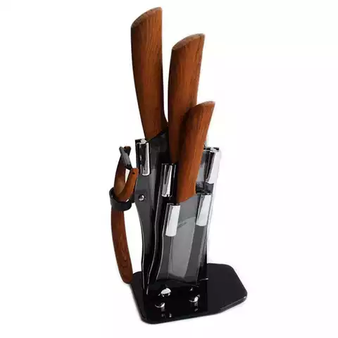 Kitchen 5 Piece Wood Handle Zirconia Multifunction Ceramic Chef Knife Set With Peeler In Acrylic Block