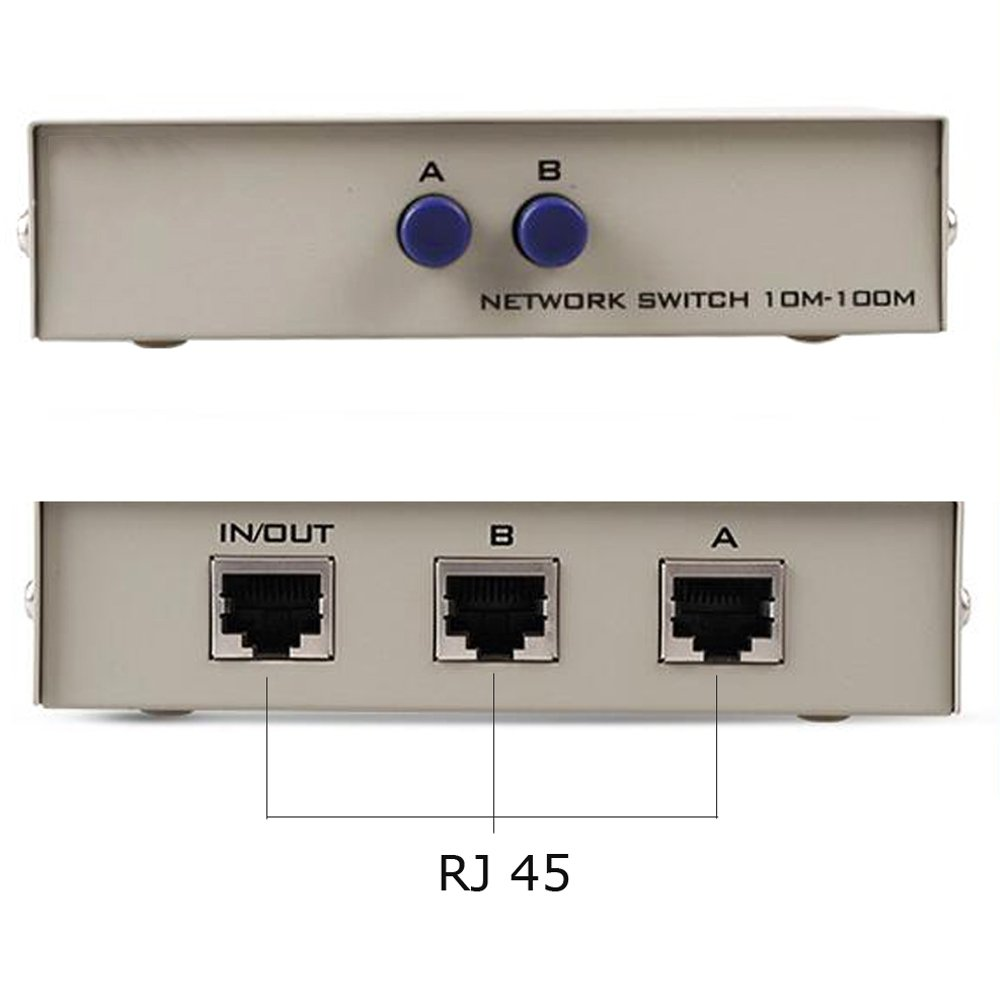 RJ45 Manual Network Switch Metal Housing Network Sharing LAN Cable Switch 2 in1