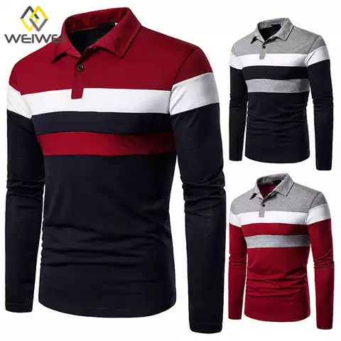 Vertical Stripes Long Sleeve Polo Shirt