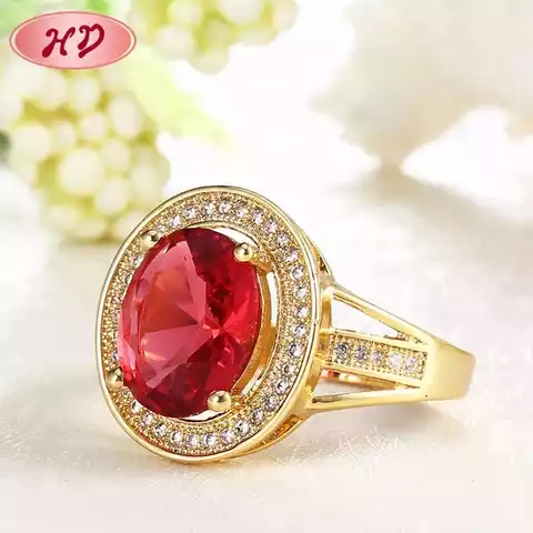 Crystal Red Stone Golden Wedding Ring
