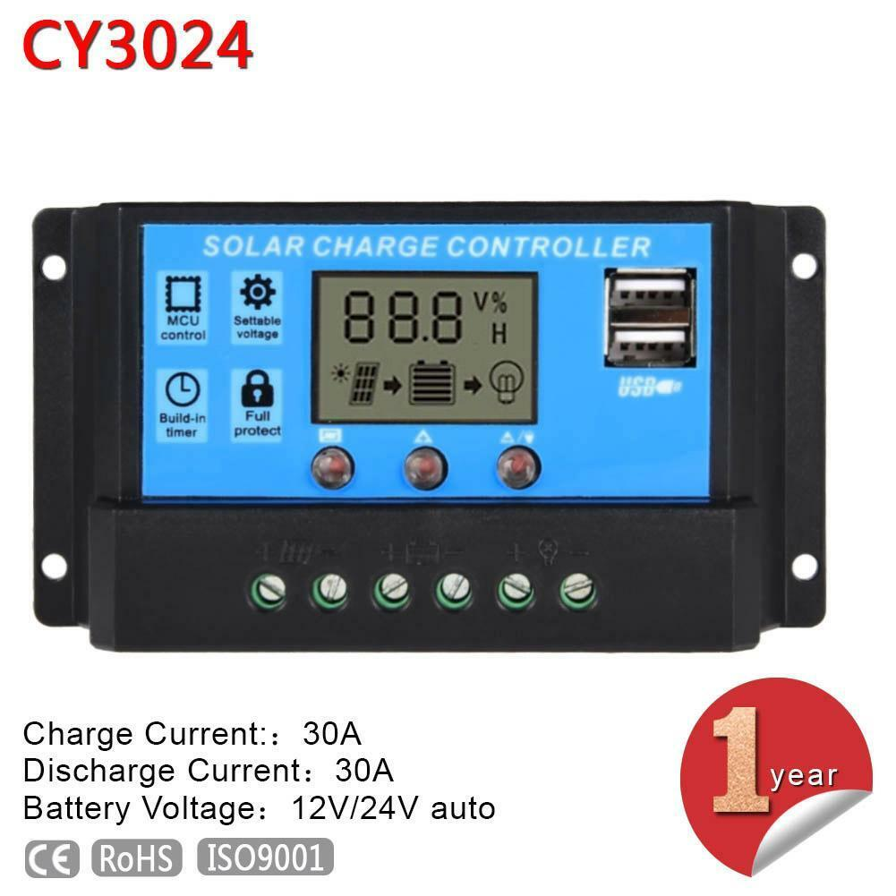LCD 30A 12V-24V PWM Solar Panel Battery Charge Controller Regulator For Light LG