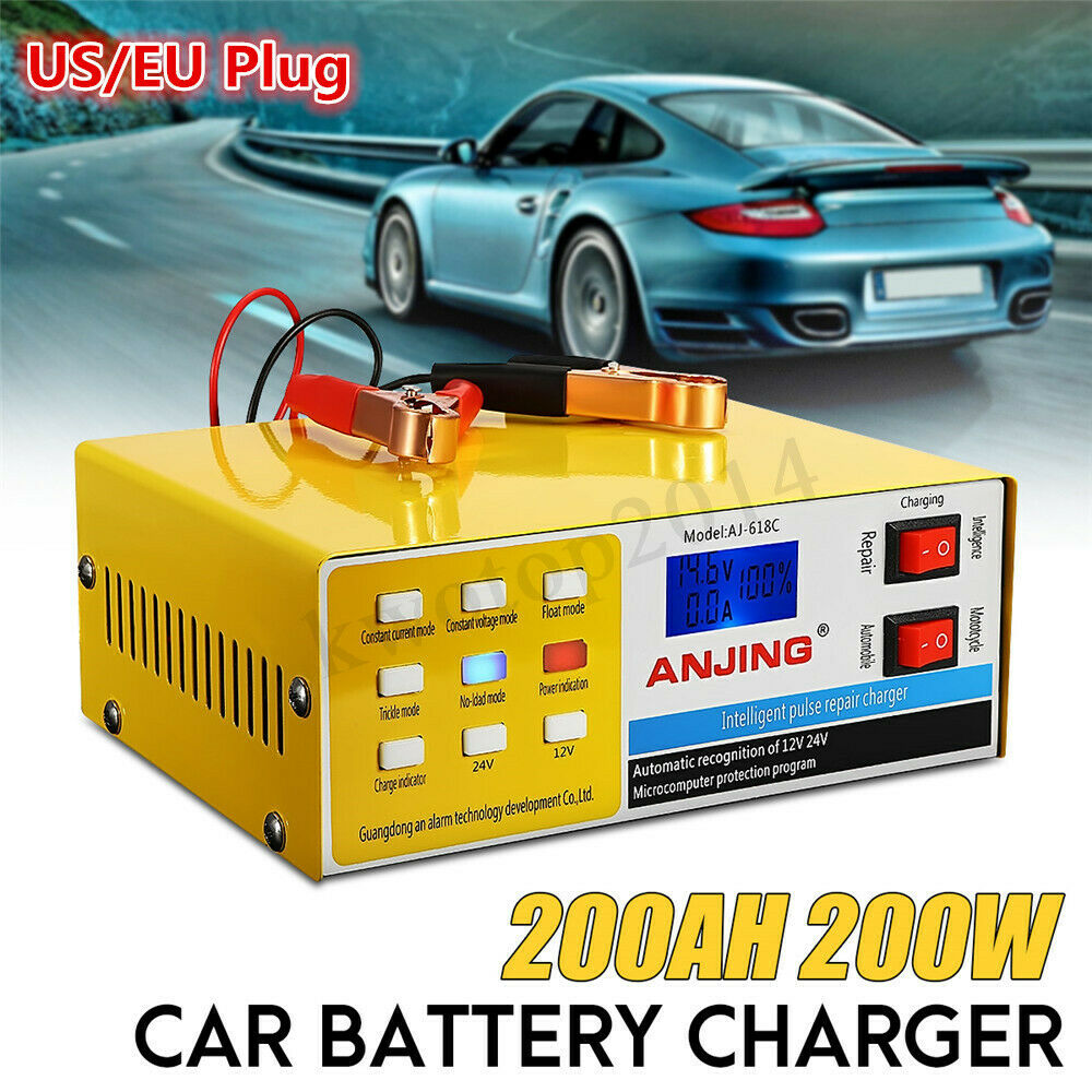 12/24V 200AH Car Motorcycle Pulse Repair Battery Charger Automatic Intelligent