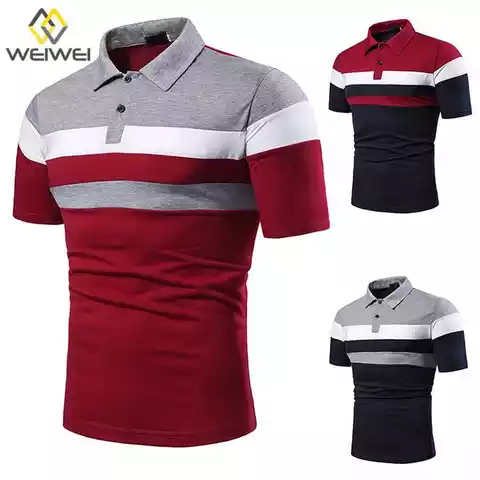 100% Polyester Men Strip Short sleeve polo