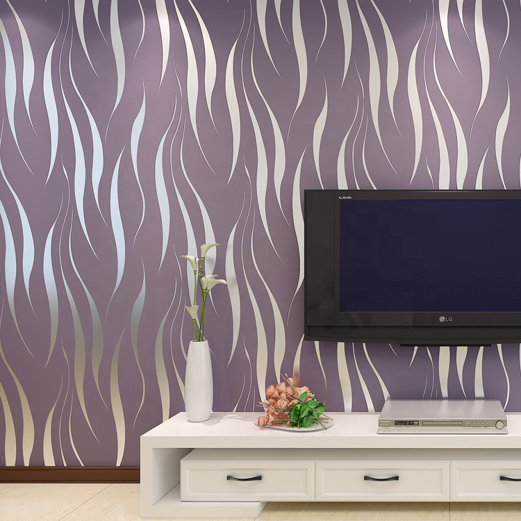 3D stripe non woven Eco-Friendly wallpaper 0.53*10m