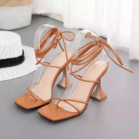 Brand Design Cross Bandage Peep Toed High Woman Sandals Size 35 to 42
