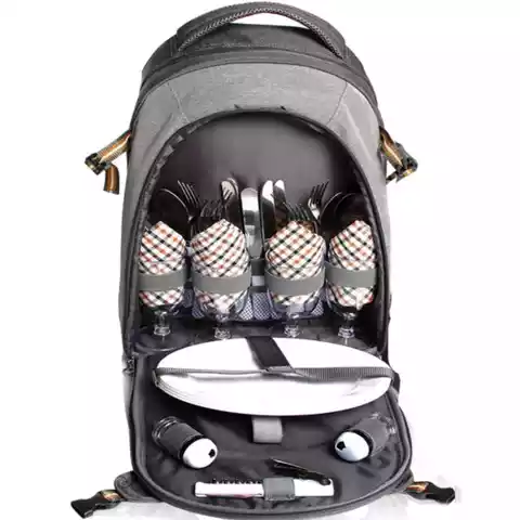 4 Person Picnic Backpack with Stainless Steel Utensils Fleece Blanket Cooler Compartment Holders Wine Bottles Modern Backpack