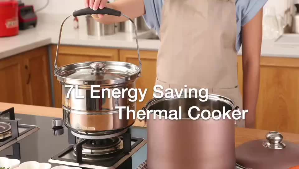 7L Stainless steel energy saving pot kitchen flame free reboiling magic cooking pot