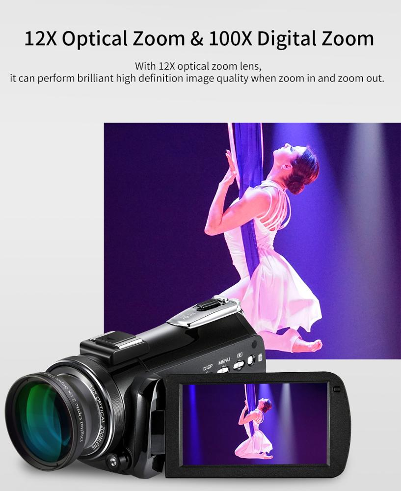 professional 4k digital video camera with 3.0'' touch display/wifi/12x optical zoom/100x digital zoom /max support 128GB