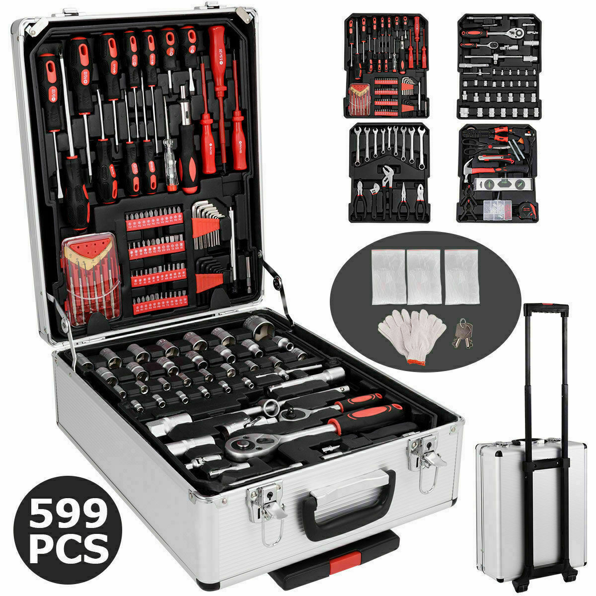 585 PCS Hand Tool Set Mechanics Kit Wrenches Socket Toolbox Trolley Case Castors