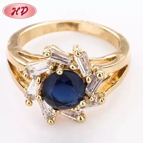 18K Gold Dubai Wedding Brass Diamond Rings Jewelry For Women