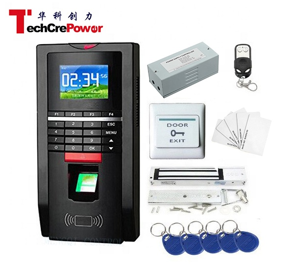 Complete Biometric Kits Fingerprint RFID TCP/IP Time Attendance 600Lbs Magnetic Lock Access Control System