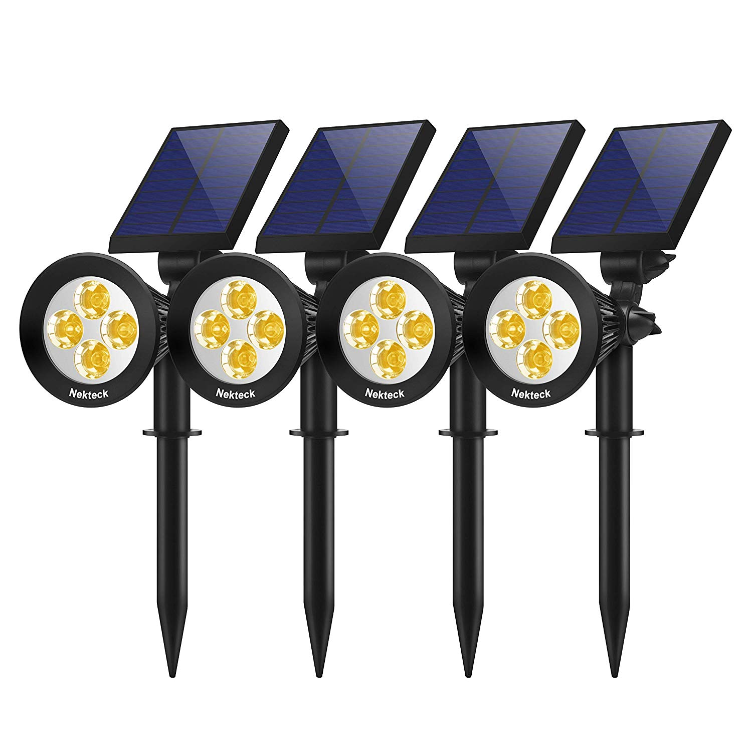 Solar Lights Outdoor, 2-in-1 Solar Spotlights Powered 4 LED Adjustable Wall Lighten
