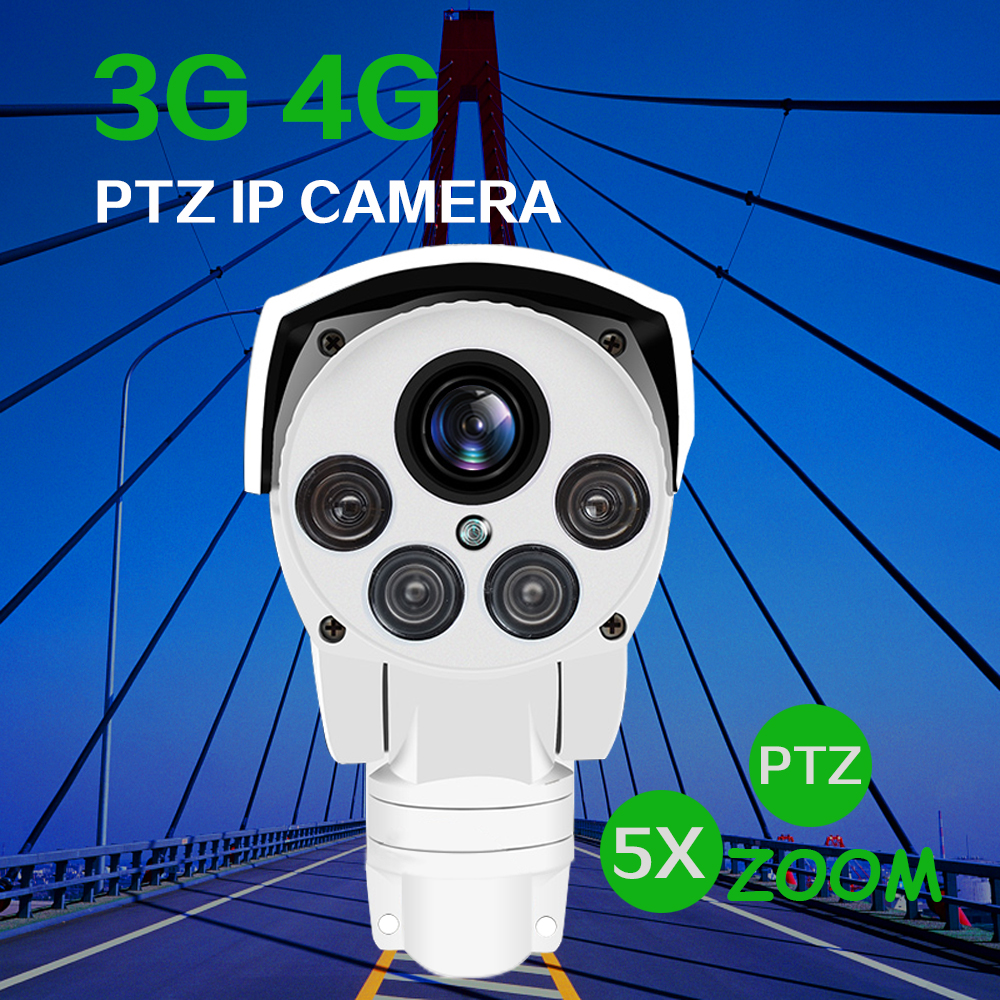 4G SIM Camera Wifi Outdoor PTZ HD Bullet Camera Wireless IR 50M 5X Zoom Auto Focus Cctv Camera