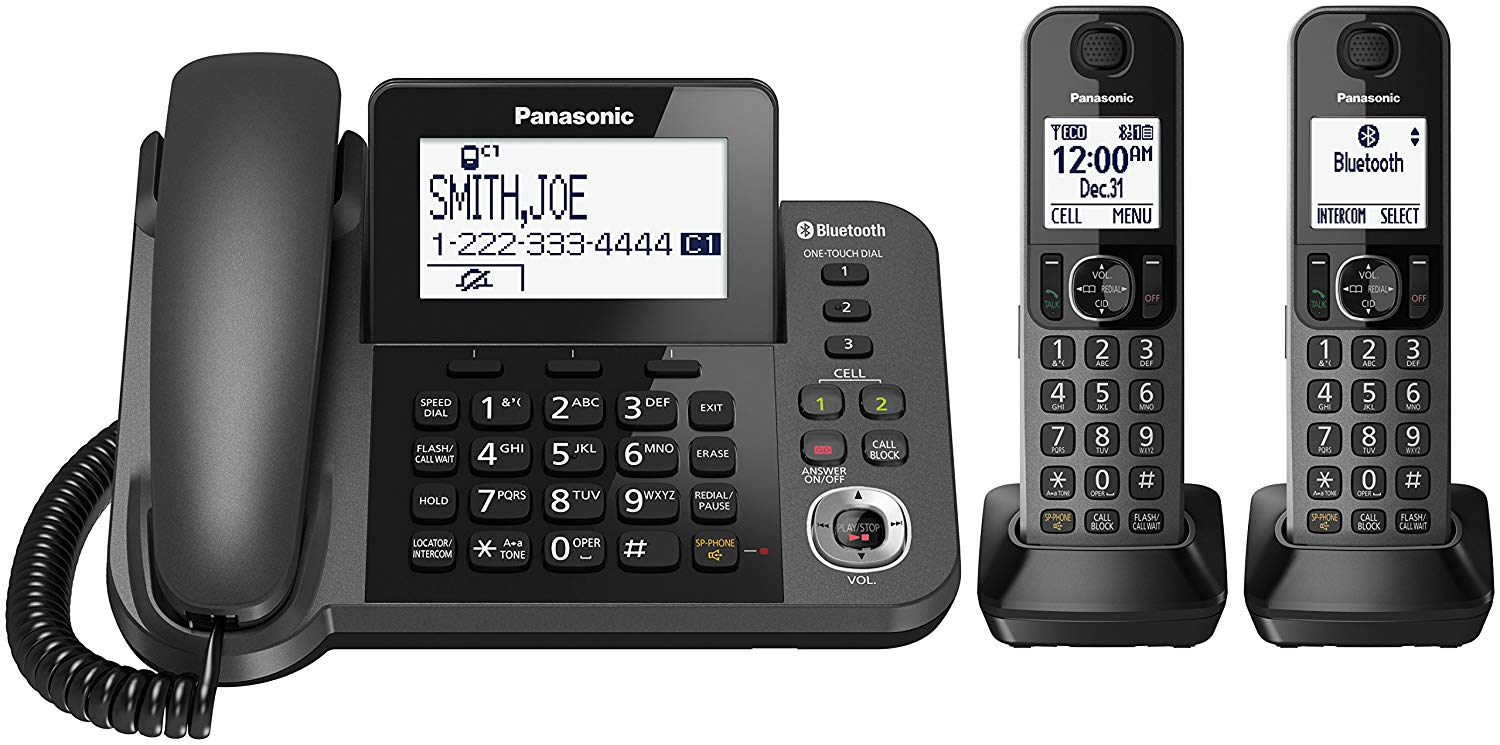 PANASONIC Bluetooth Corded/Cordless Phone System with Answering Machine