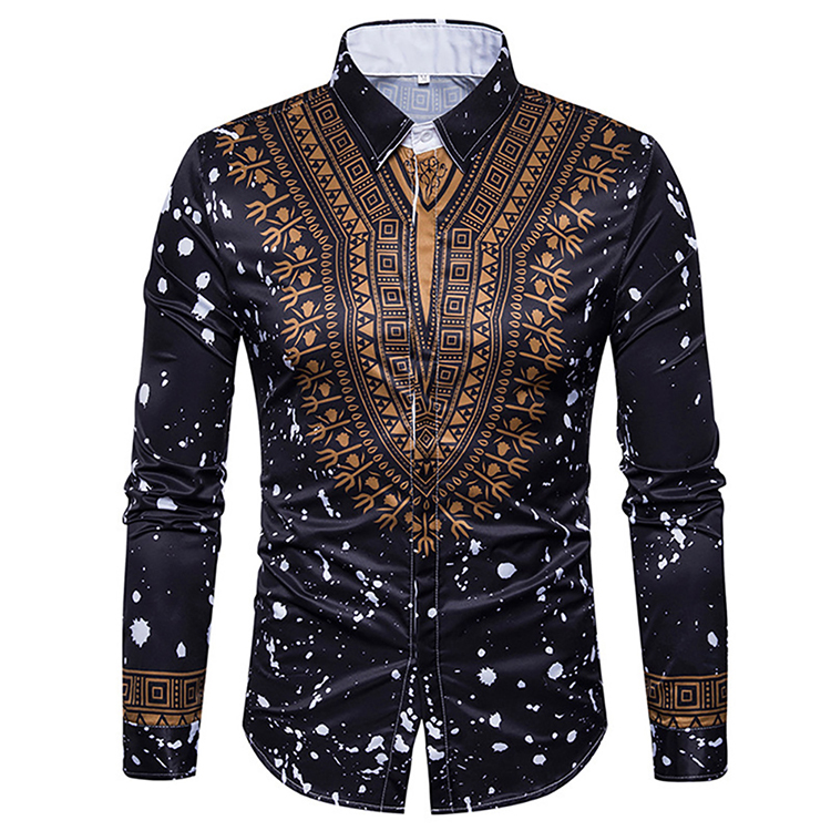 New Fashion National Style Summer Clothing Men African Print Blouse Long Sleeve