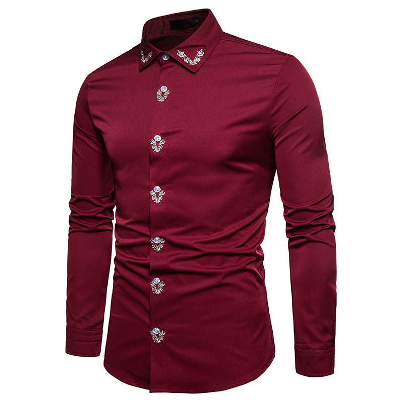 Custom New Red Embroidered Men's Long Sleeve Cotton Shirt