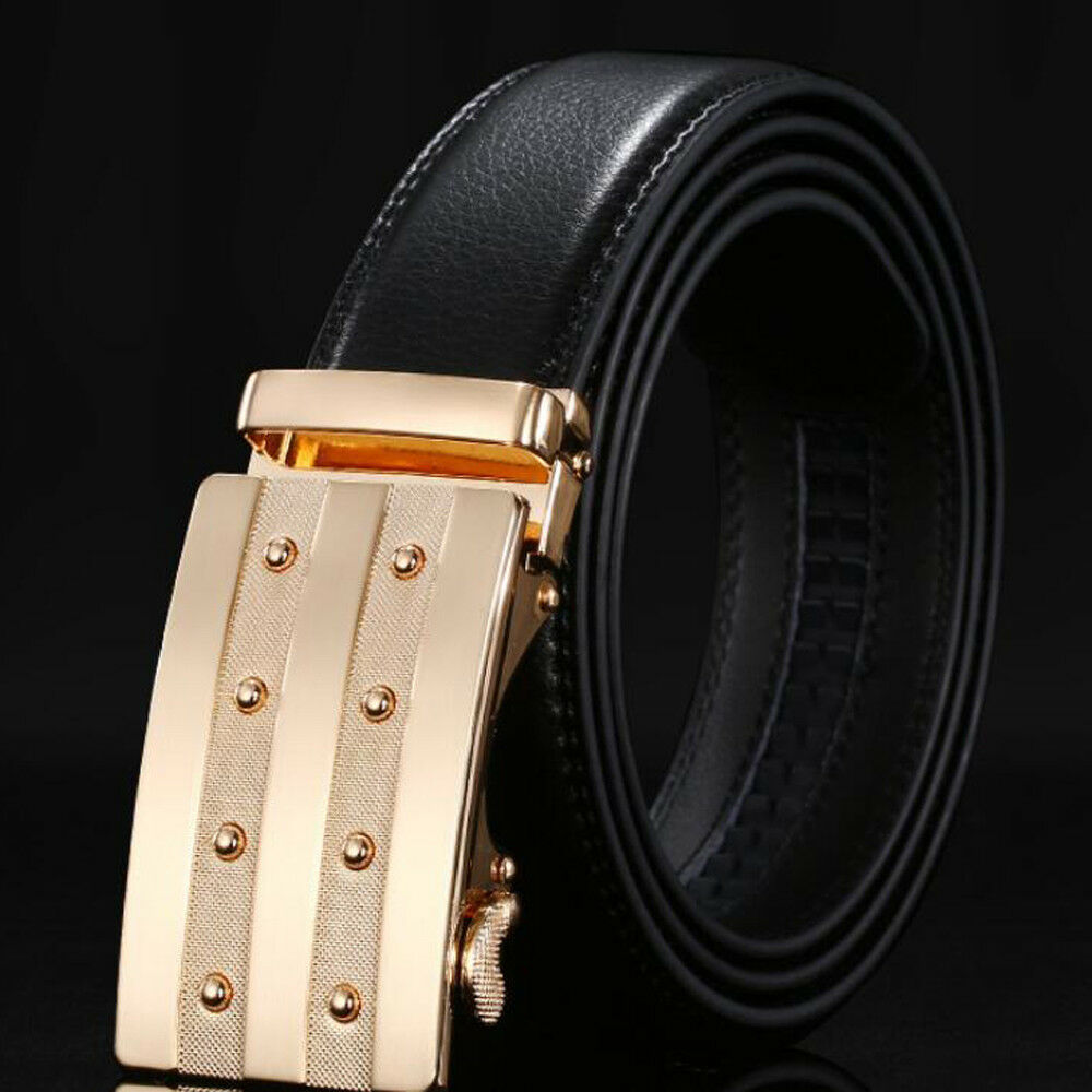 New Luxury Men's Casual Leather Waistband Automatic Buckle Belt Waist Strap Belt
