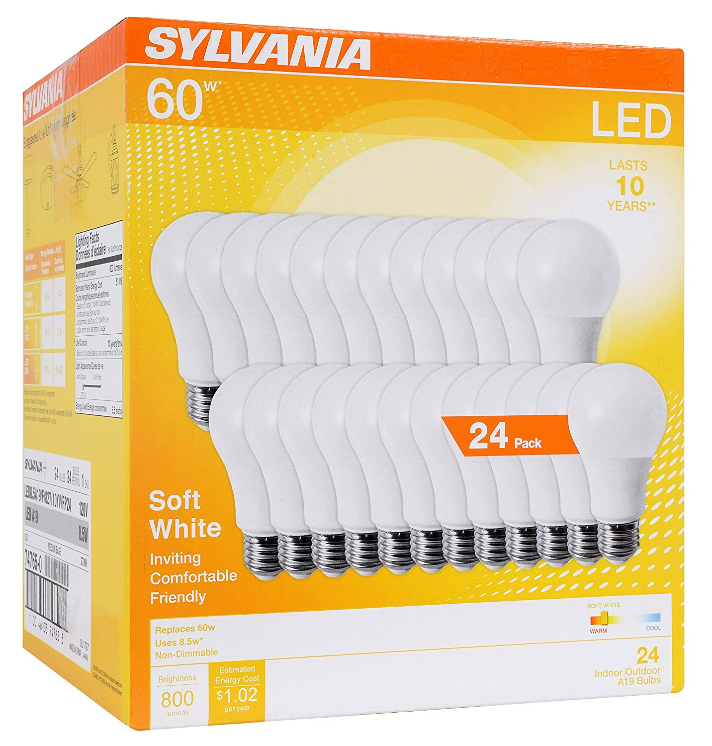 SYLVANIA 74765 A19 Efficient 8.5W Soft White 2700K 60W Equivalent A29 LED Light Bulb (24 Pack), Count