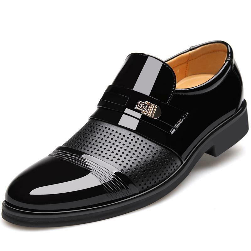 Men Formal Leather Shoes Business Formal Slip on Breathable Hollow Shoes Fashion