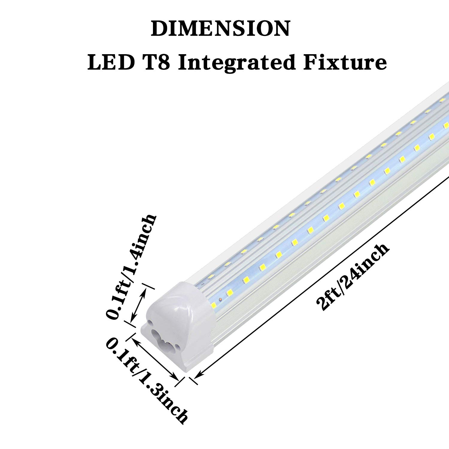 T8 Integrated Single Fixture - 2FT LED Light Fixture