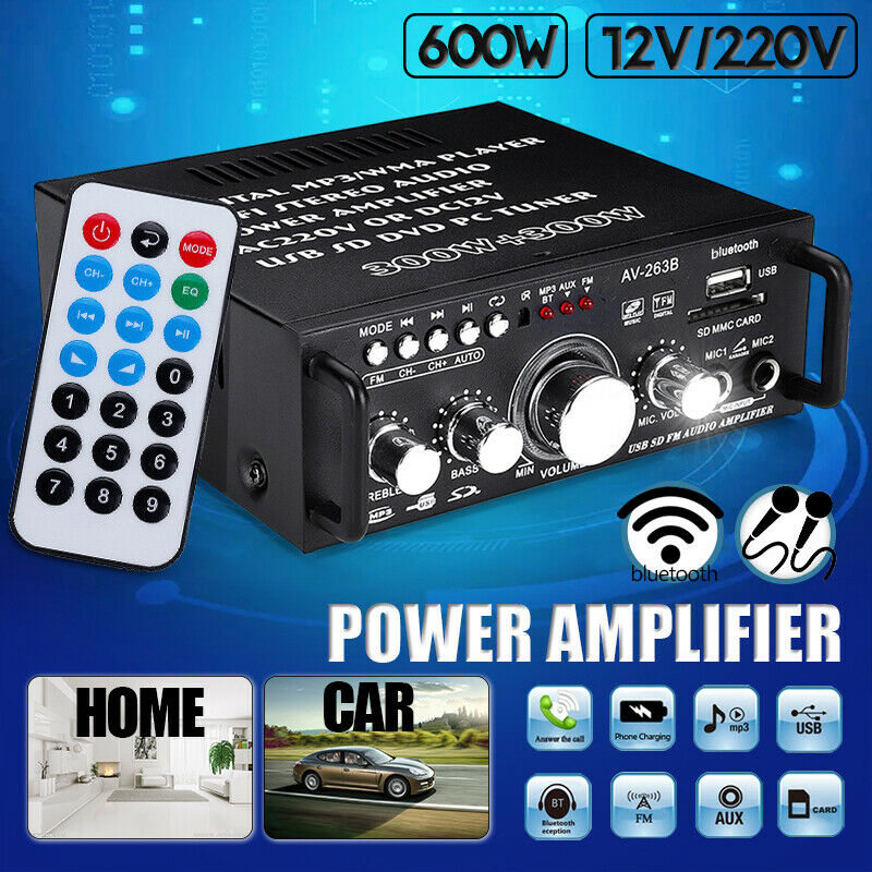 600W Mini 2CH HiFi Digital Audio Stereo Amplifier Preamps FM bluetooth Car Home