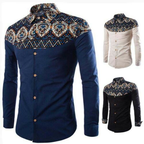 Tops long sleeve casual t-shirt formal stylish floral dress shirt slim fit men's