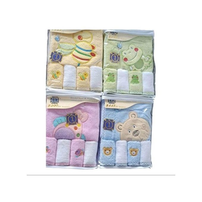 Baby Hooded Towel + 4 Washcloths { ONE SET }