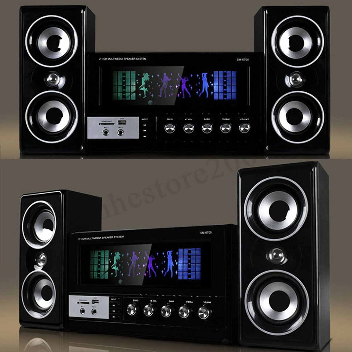 bluetooth Surround Sound Speaker System Laptop PC Home Audio TV Theater USB SD !