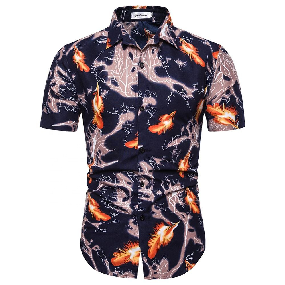 hot sale short sleeve digital printed men hawaiian shirt