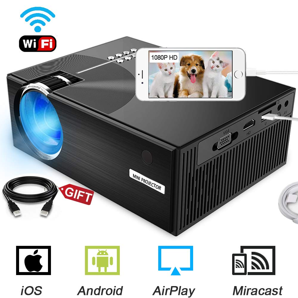 WiFi Projector, 2800Lumens LED Wireless  Projector 1080P HD Portable Movie Theater Video Projector