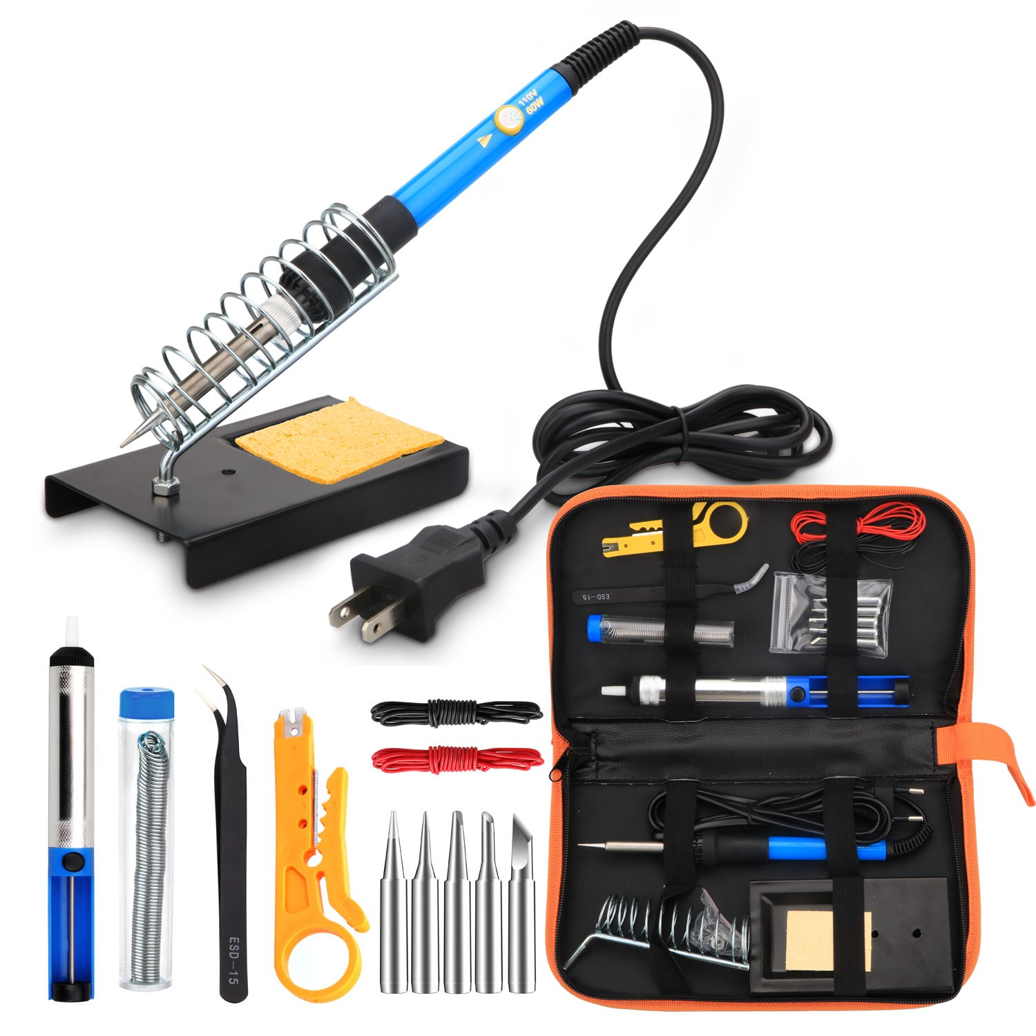 Soldering Iron Kit 60W Adjustable Temperature Welding Soldering Iron