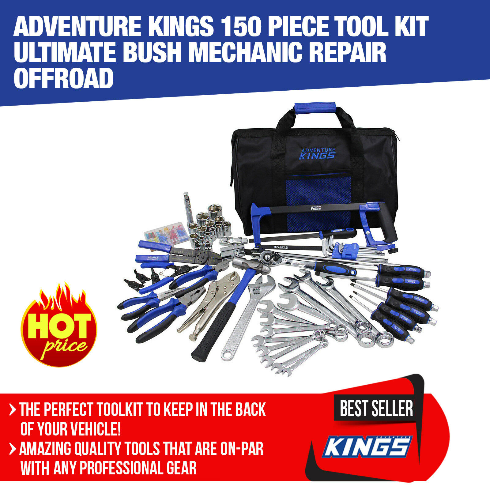Adventure Kings 150 Piece Tool Kit Ultimate Bush Mechanic Repair Offroad