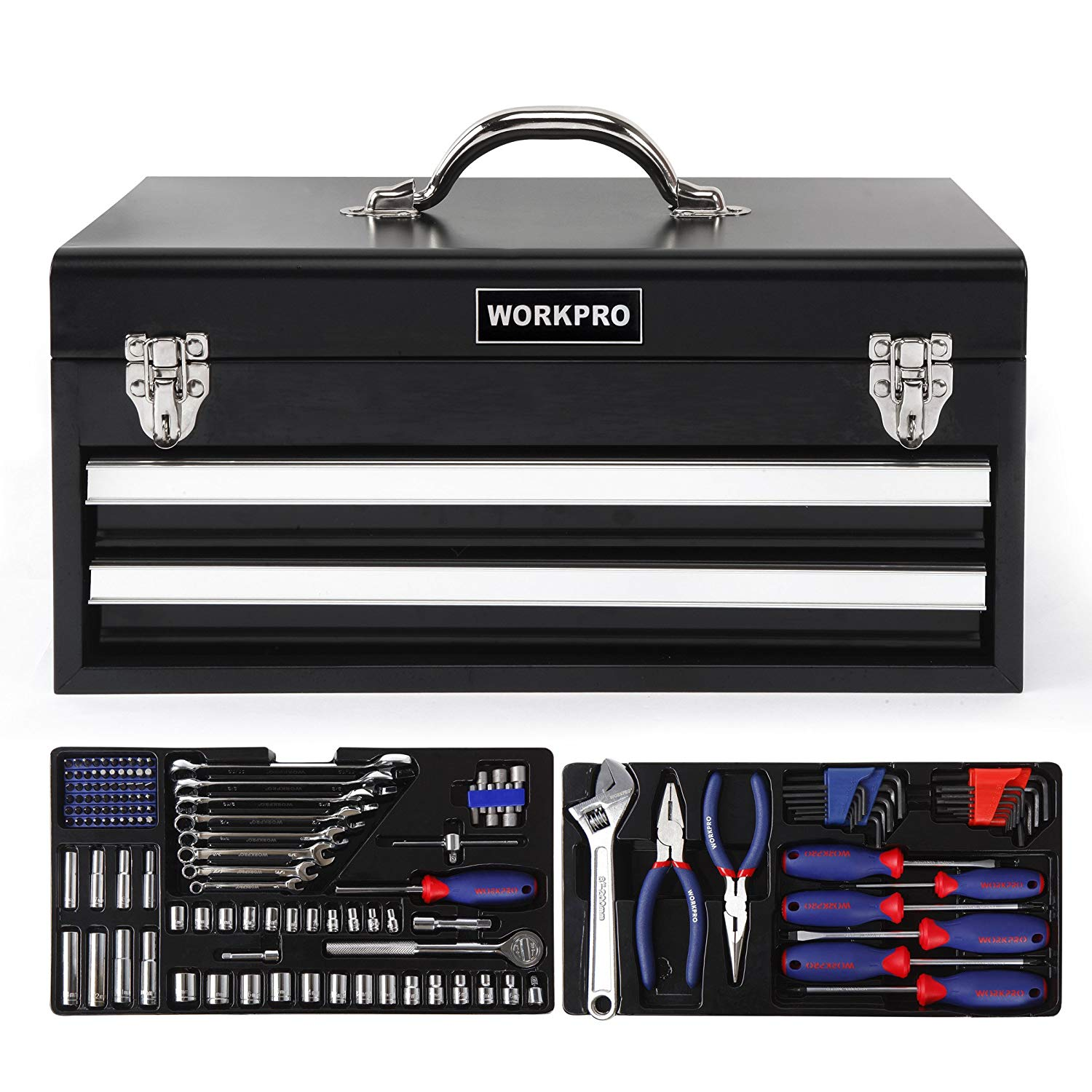 WORKPRO W009044A 408-Piece Mechanics Tool Set with 3-Drawer Heavy Duty Metal Box