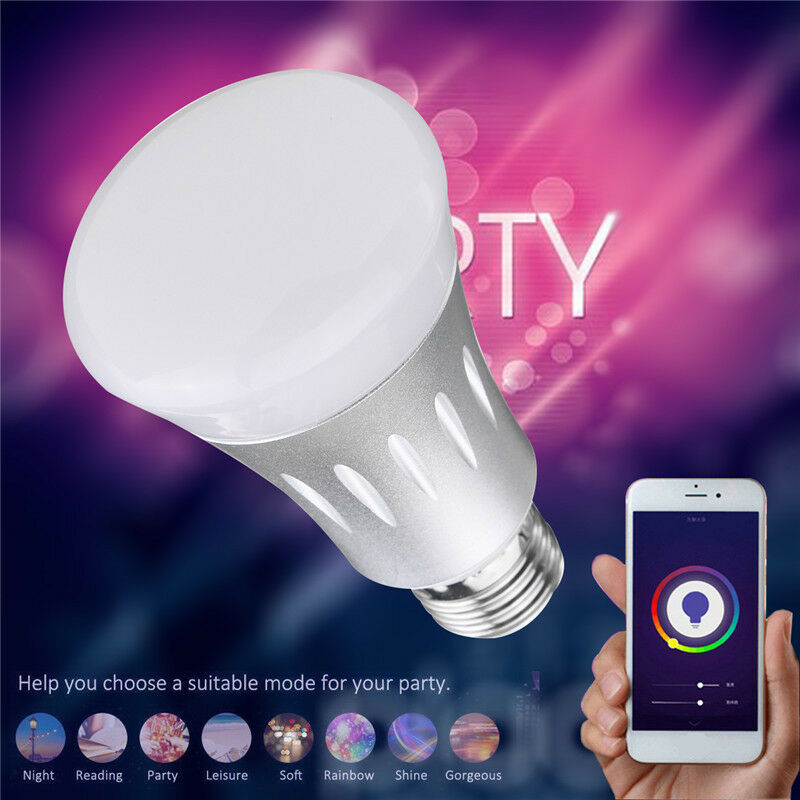 WiFi APP Remote Control Smart LED Bulb E27 RGBW Light For echo Alexa Google
