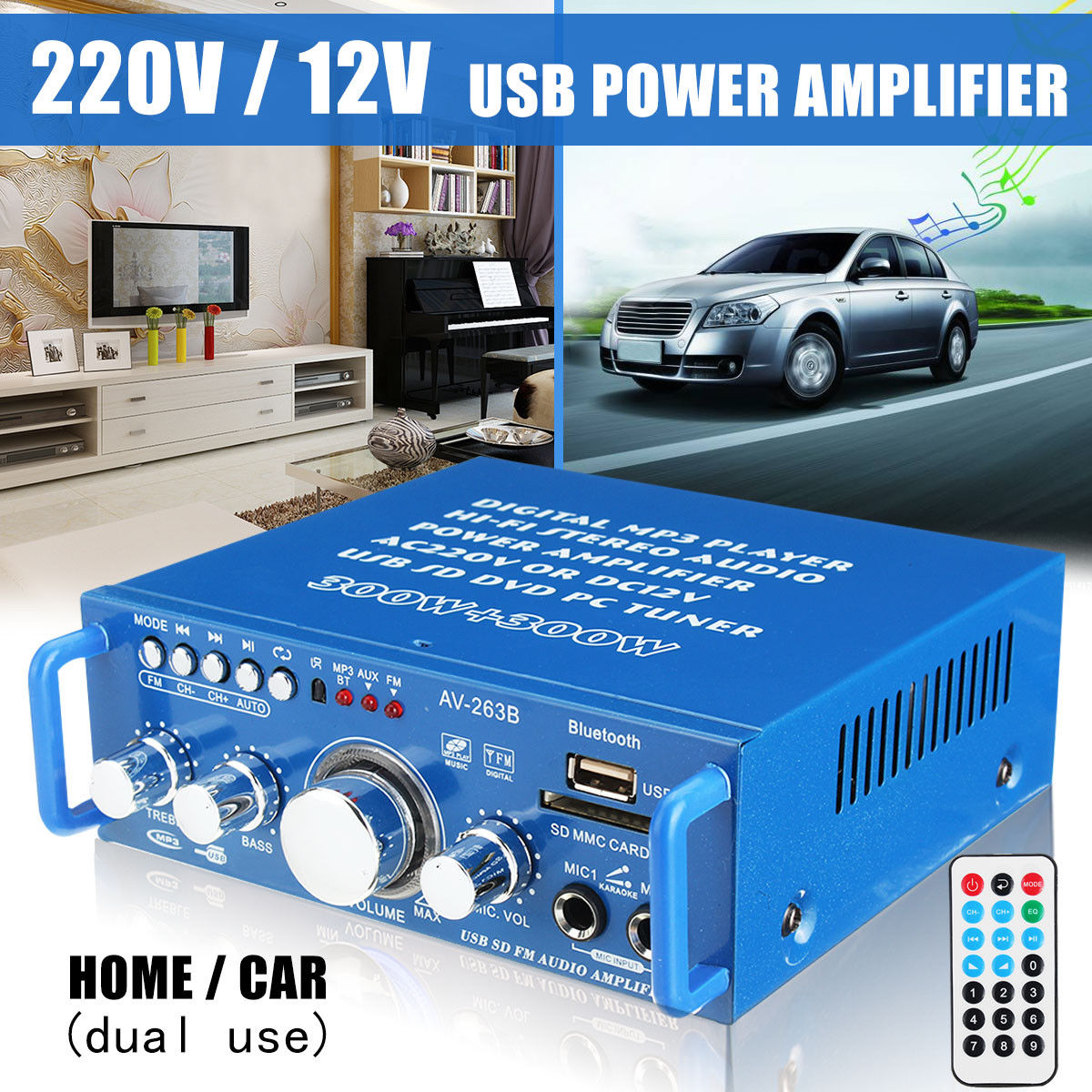 600W bluetooth 2CH Home Car Power Amplifier HiFi Stereo Audio Karaoke USB FM SD