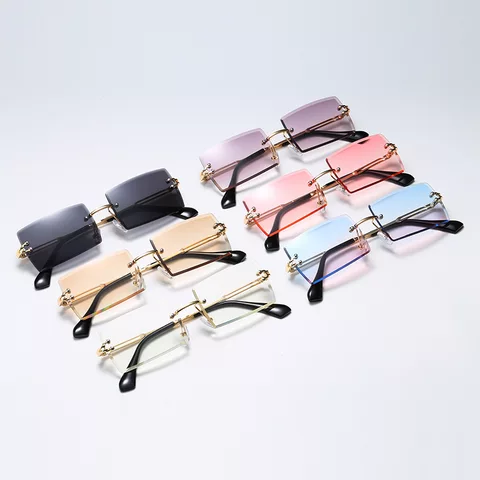 2021 High Quality Square Metal Sunglasses Women Trendy Rimless Sunglasses