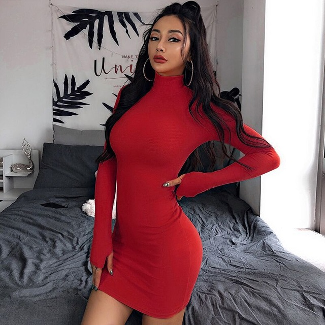 Fashion Knit Solid Color Sexy Mini Dress Long Sleeve Autumn Bodycon Dress Women